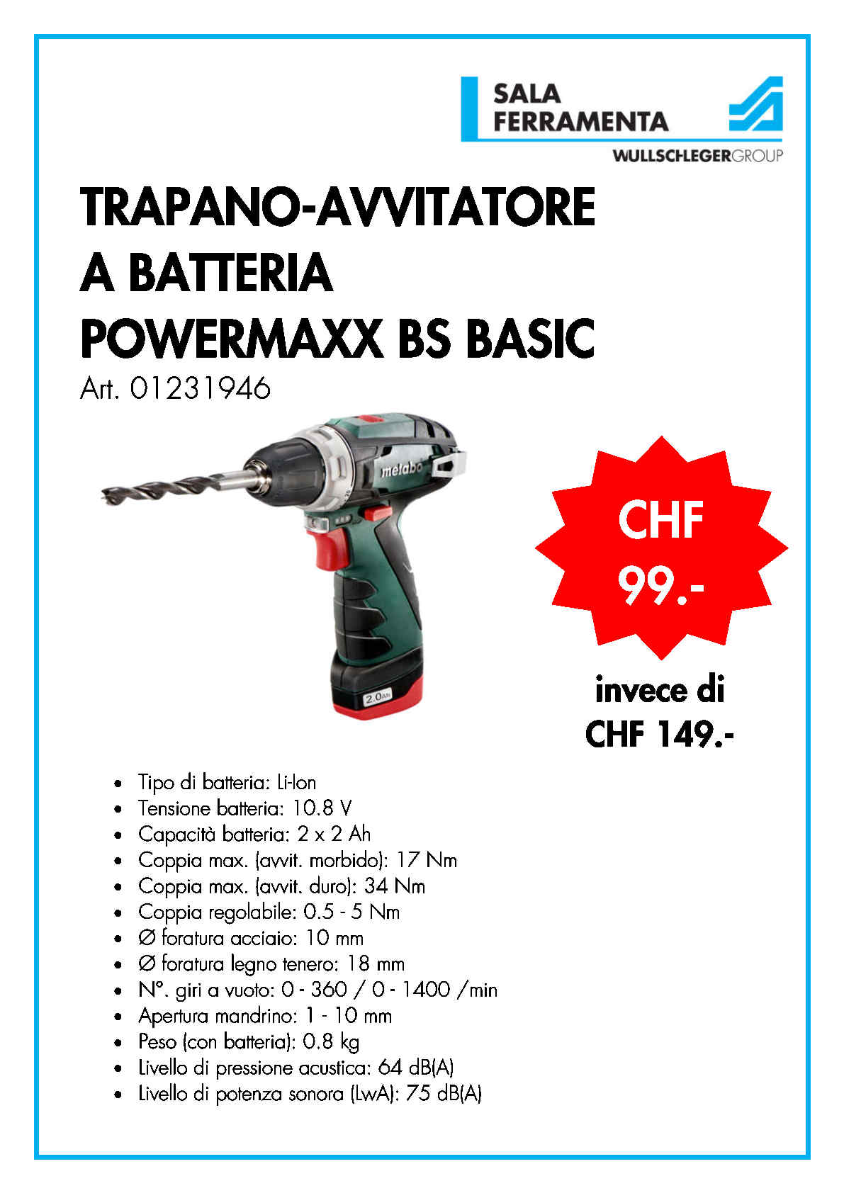 TRAPANO-AVVITATORE A BATTERIA POWERMAXX BS BASIC